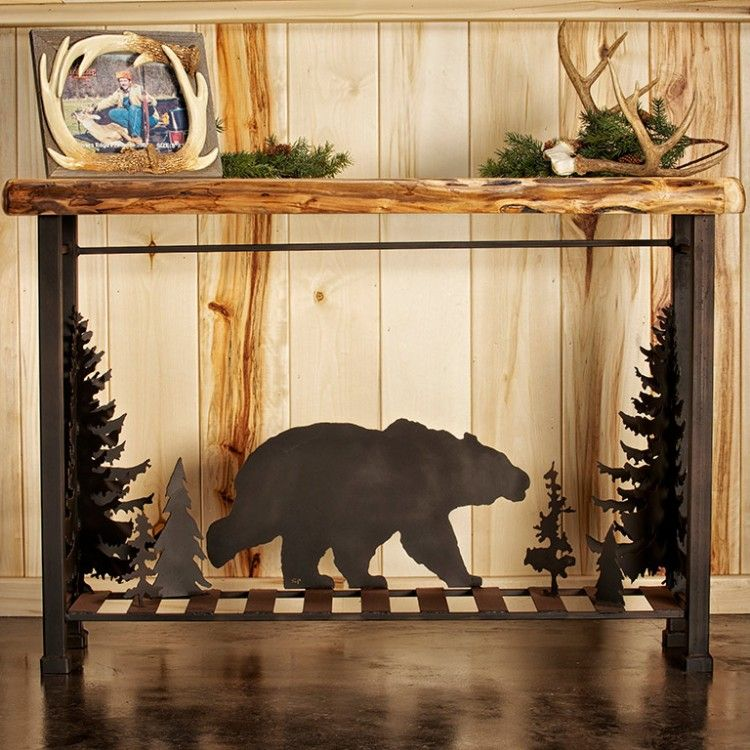Metal Bear Scene Sofa Table In 2019 Rustic Trsnquility