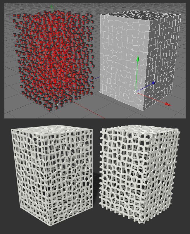 How to create a Voronoi mesh in Cinema 4D using the Xplode plugin, Thinking Particles, and theMatrix object