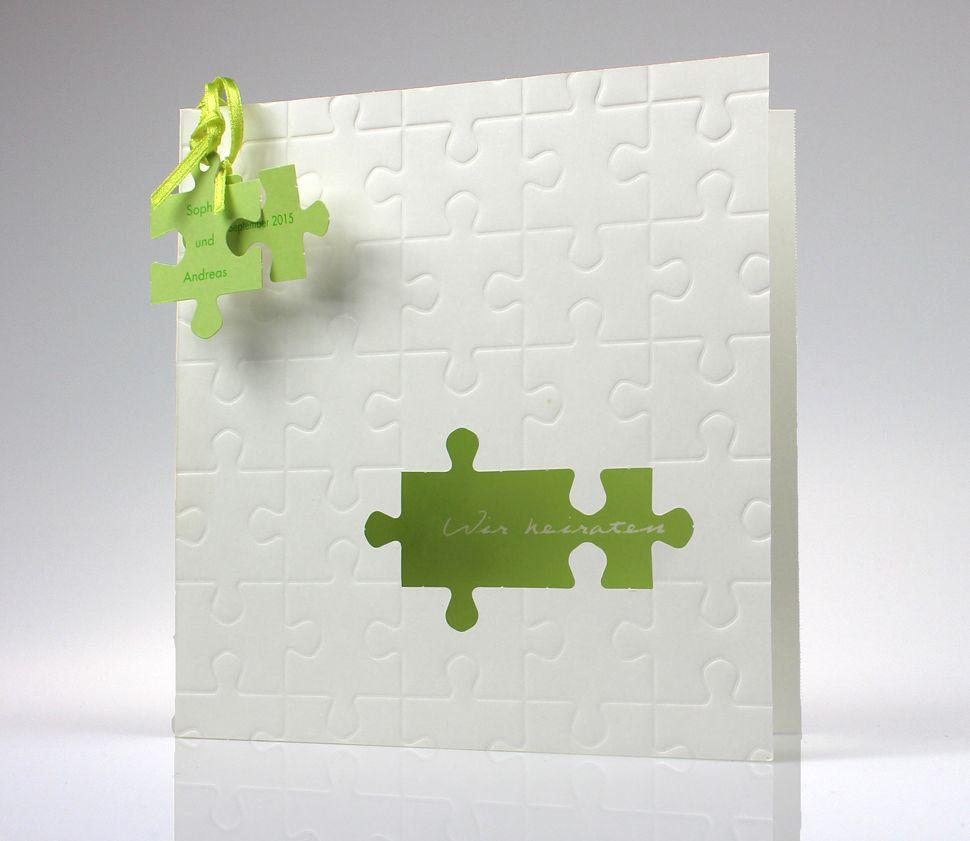 einladungskarte aus edlem metallickarton mit puzzle-reliefprägung, Kreative einladungen