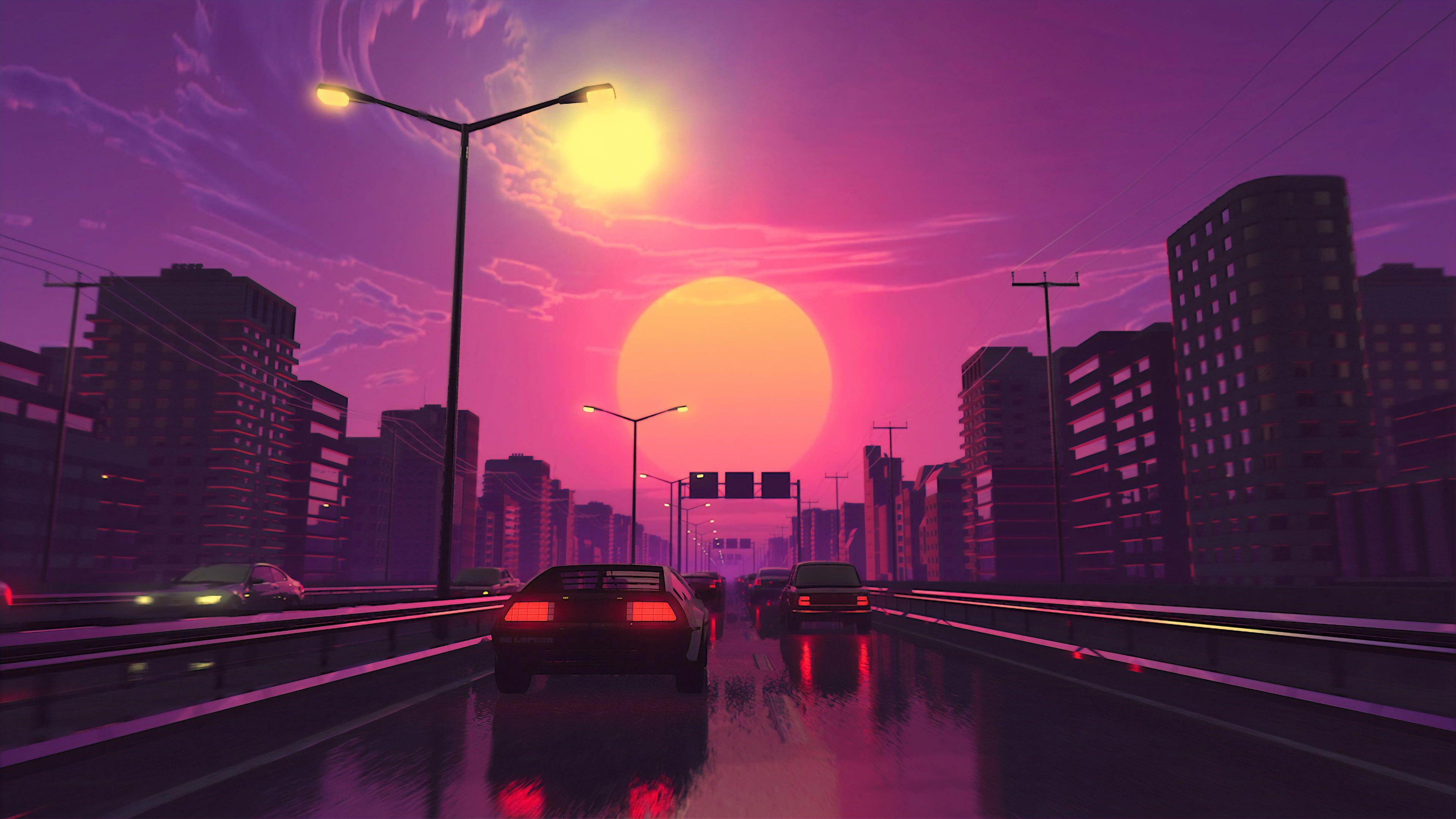 Digital Digital Art Artwork City Lights Street Car Wallpaper Vehicle City Wallpaper Vaporwave Wallpaper Skyscape