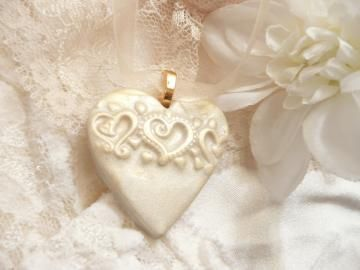 Heart Wedding Bouquet Charm, Pendant, Ornament - imaginative polymer clay accessories by ArtsyClay for $12.00