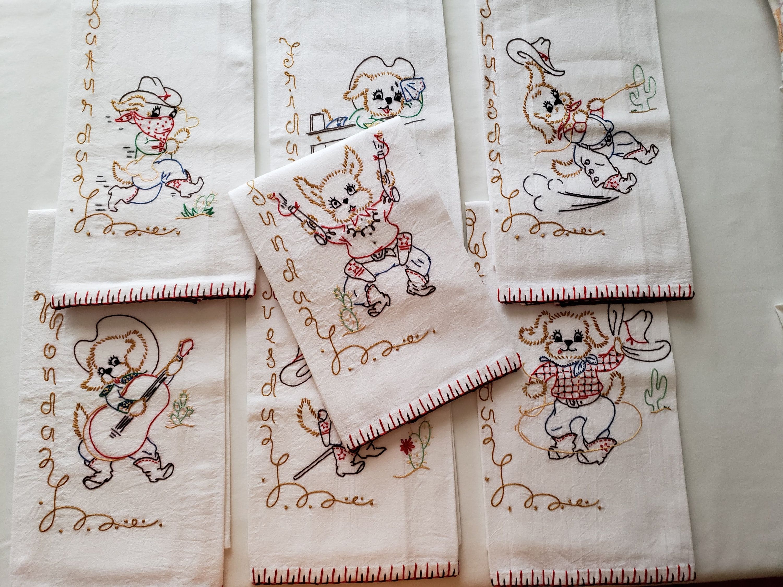 Vintage Pattern, Hand Embroidered Flour Sack Towels, Tea