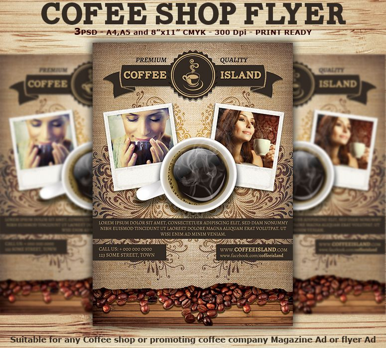 Coffee Shop Magazine Ad Or Flyer Template  Coffee