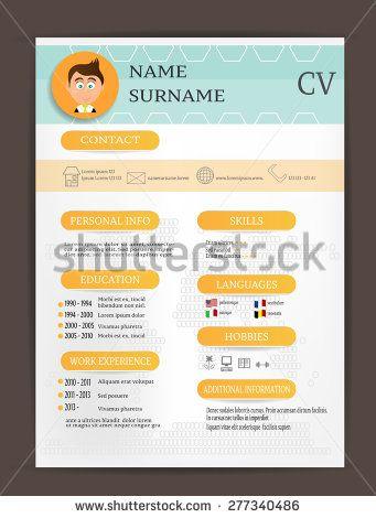 Modern curriculum vitae - cv, resume, biography, orange labels - stock resume