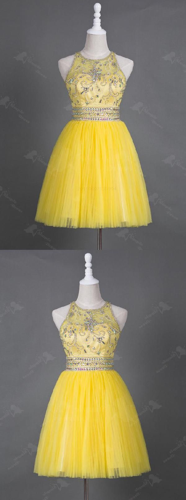 Cheap luscious yellow sleeveless in homecoming dresses