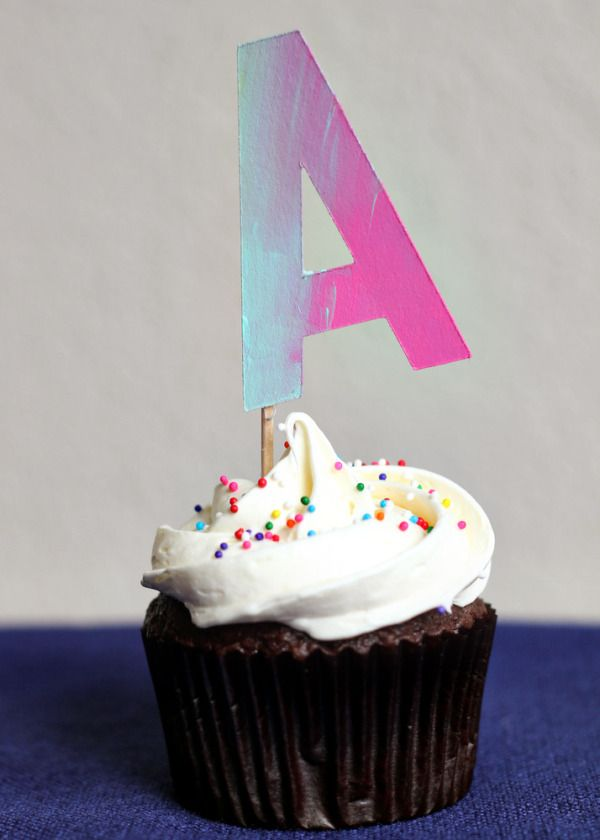 diy painted letter cupcake toppers