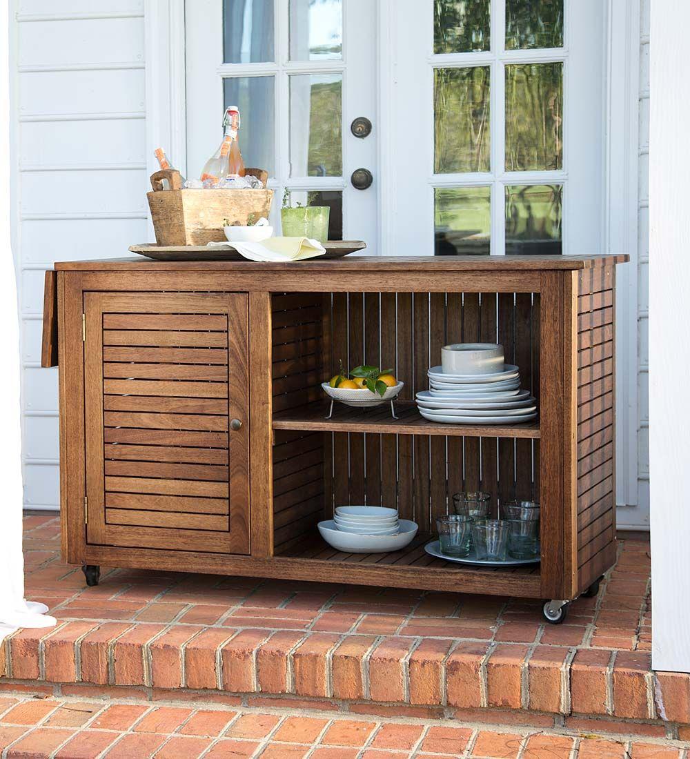patio bar wood. Large Eucalyptus Wood Rolling Cart | Patio, Outdoor Dining, Patio Furniture, Bar