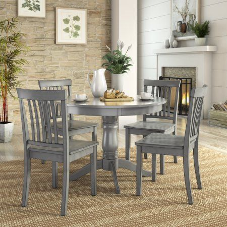 Lovely Lexington 5 Piece Dining Set With Round Table And 4 Mission Back Chairs,  Gray
