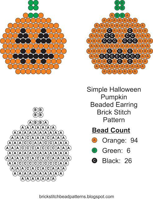 Brick Stitch Bead Patterns Journal: Simple Halloween Pumpkin #4 ...