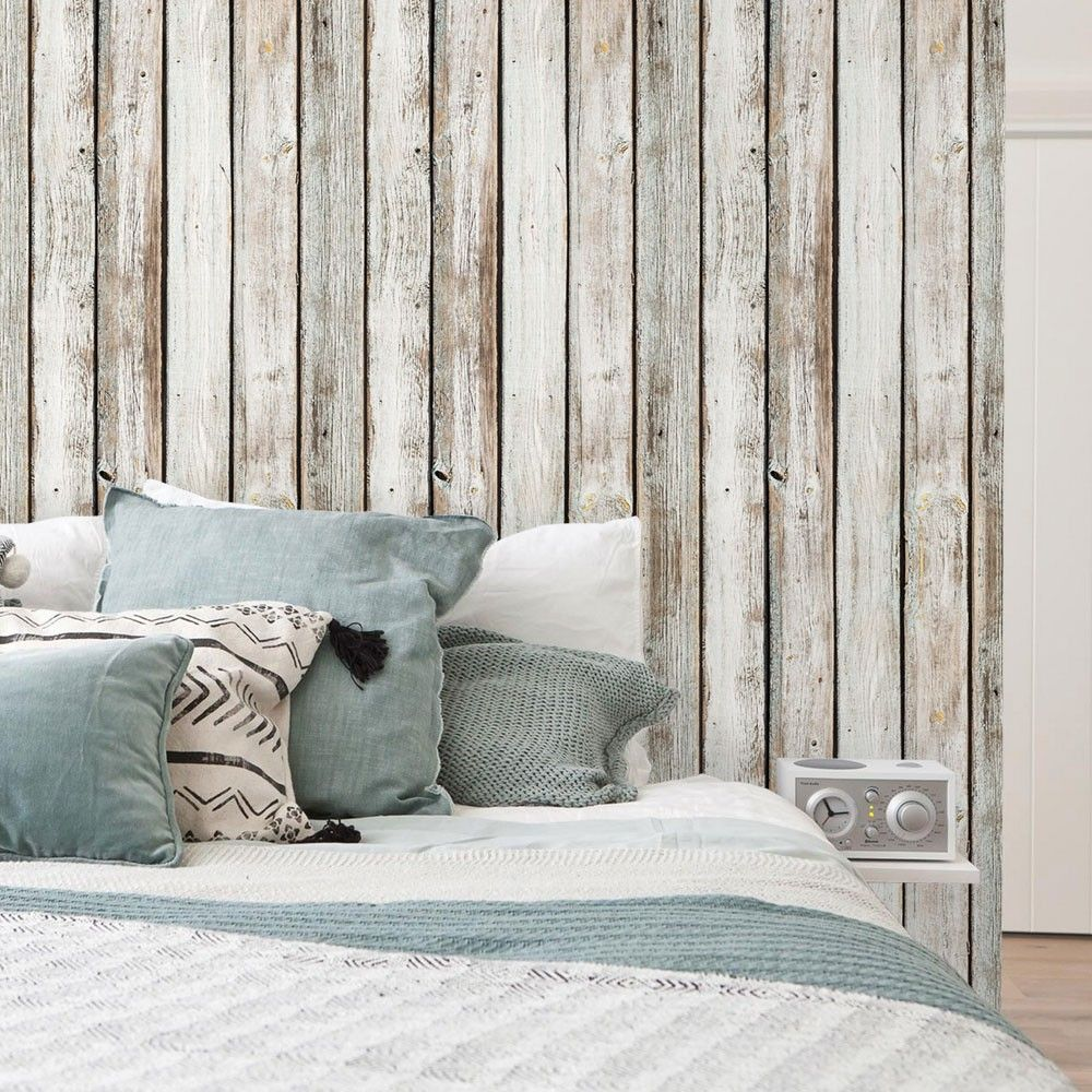 White Vintage Wood Wallpaper Peel And Stick Wood Wall Paneling Wood Wall Art Wood Wallpaper Bedroom Wood Wallpaper Bedroom Vintage