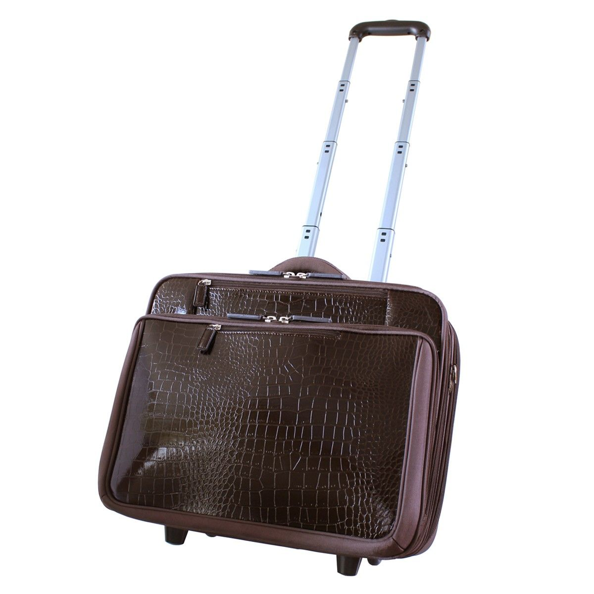 Brown Croco Roller Rolling Women S Laptop Bags Luggage For Tsa Friendly Business Francine Collection