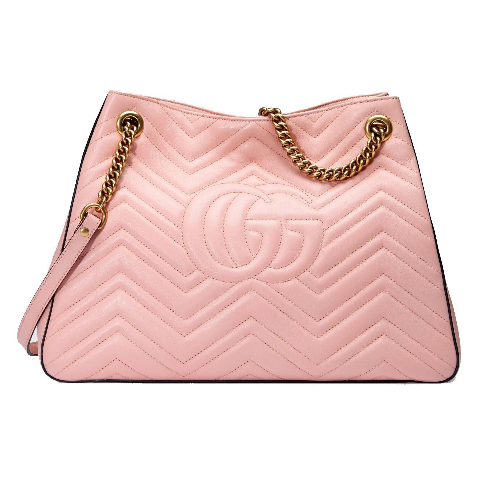 GUCCI Marmont GG Chevron Pink Leather Shoulder Bag 453569 in 2019 ... 7024257662401