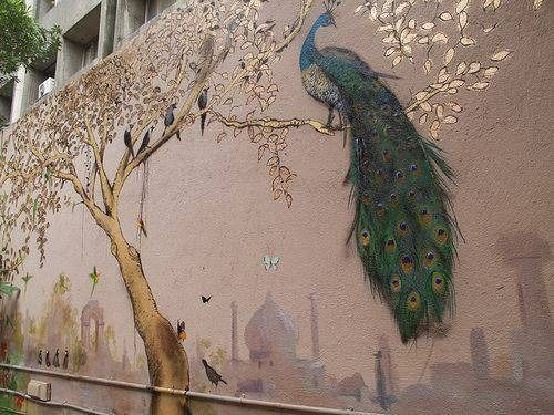 Superior Painted Mural Of Peacock On Outside Wall....love.