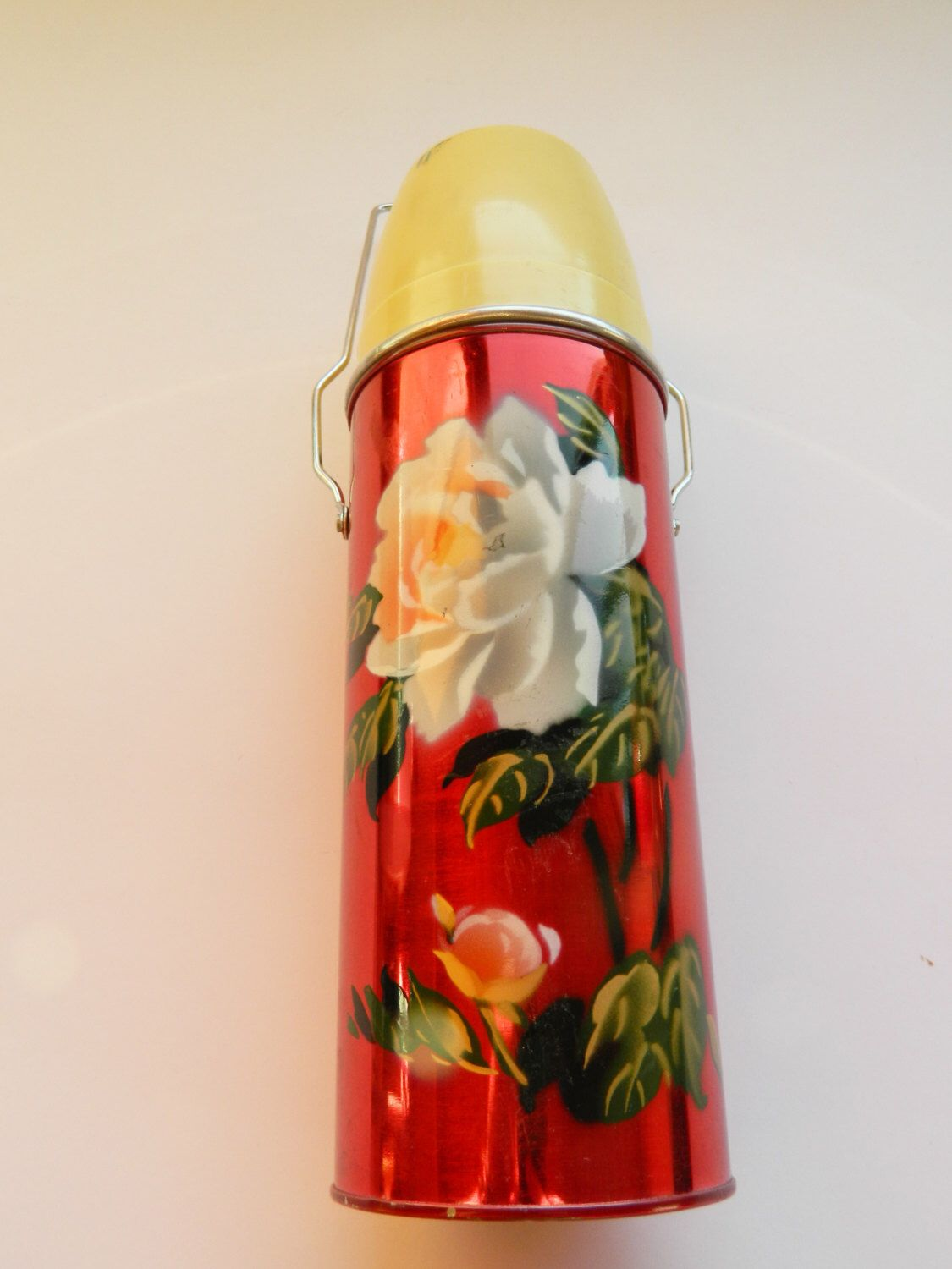 Vintage Chin Kiang China Thermos Red Floral Coffee Cold Hot Retro ...