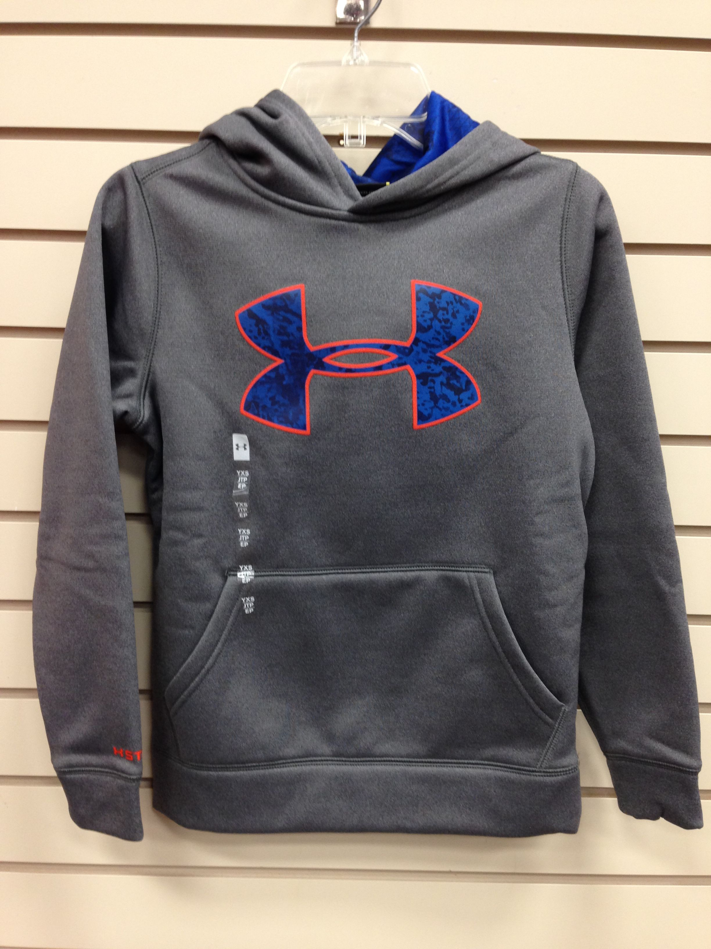 under armour youth hoodie. youth under armour sweatshirt, gray and blue hoodie