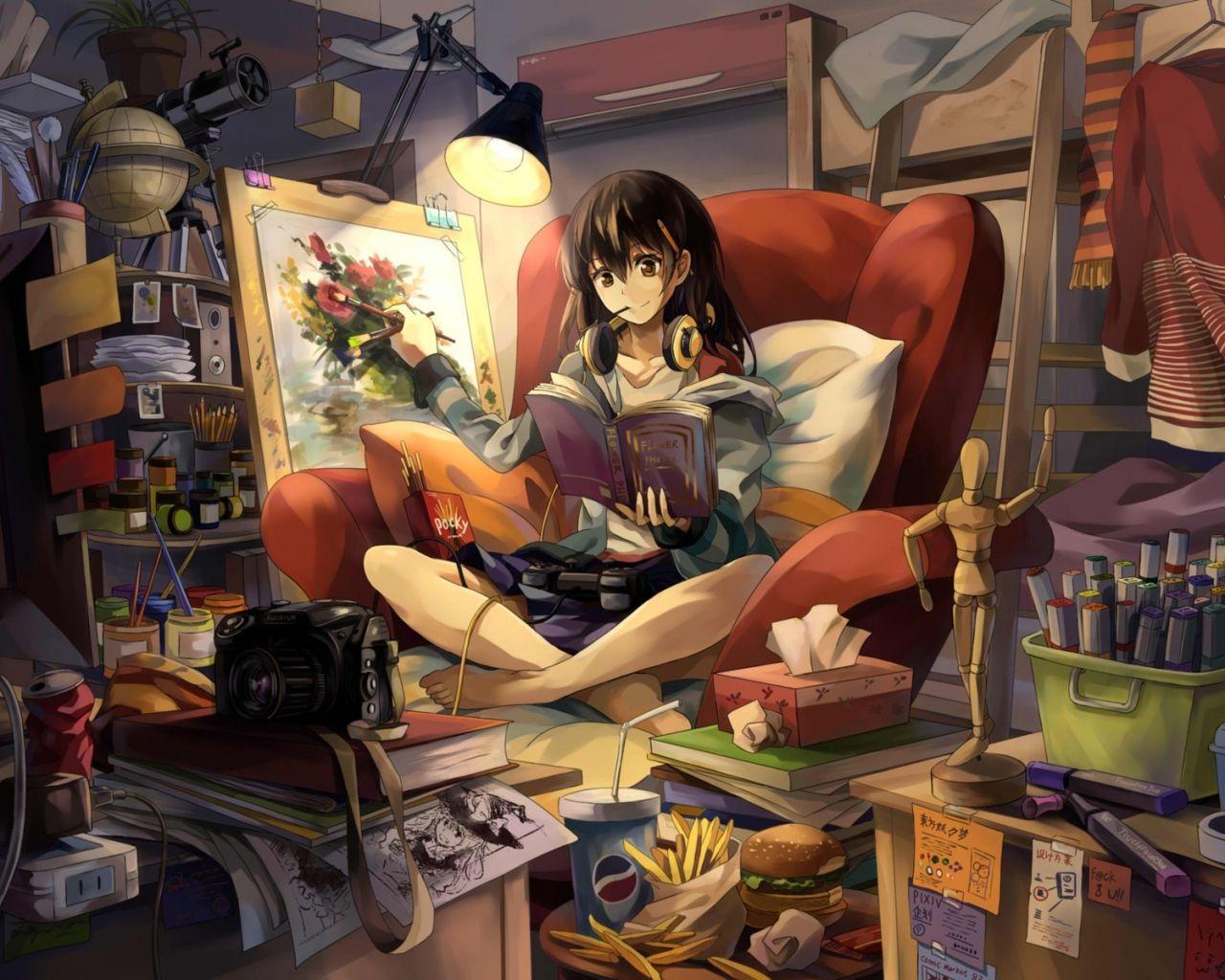1280x1024 Wallpaper neko, yanshoujie, room, girl, graphic