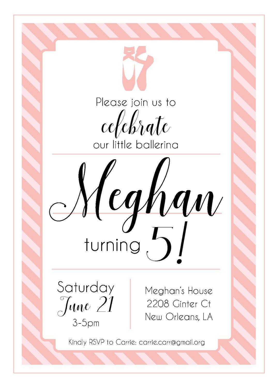 Pink Ballerina Birthday Invitation