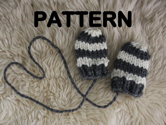 Pdf Pattern Chunky Knit Baby Mittens Thumbless Stripes Attached