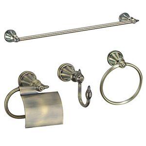 4-teiliges Baszubehör Mantelhaken, Handtuchstange, WC-Rollenhalter und Handtuchring