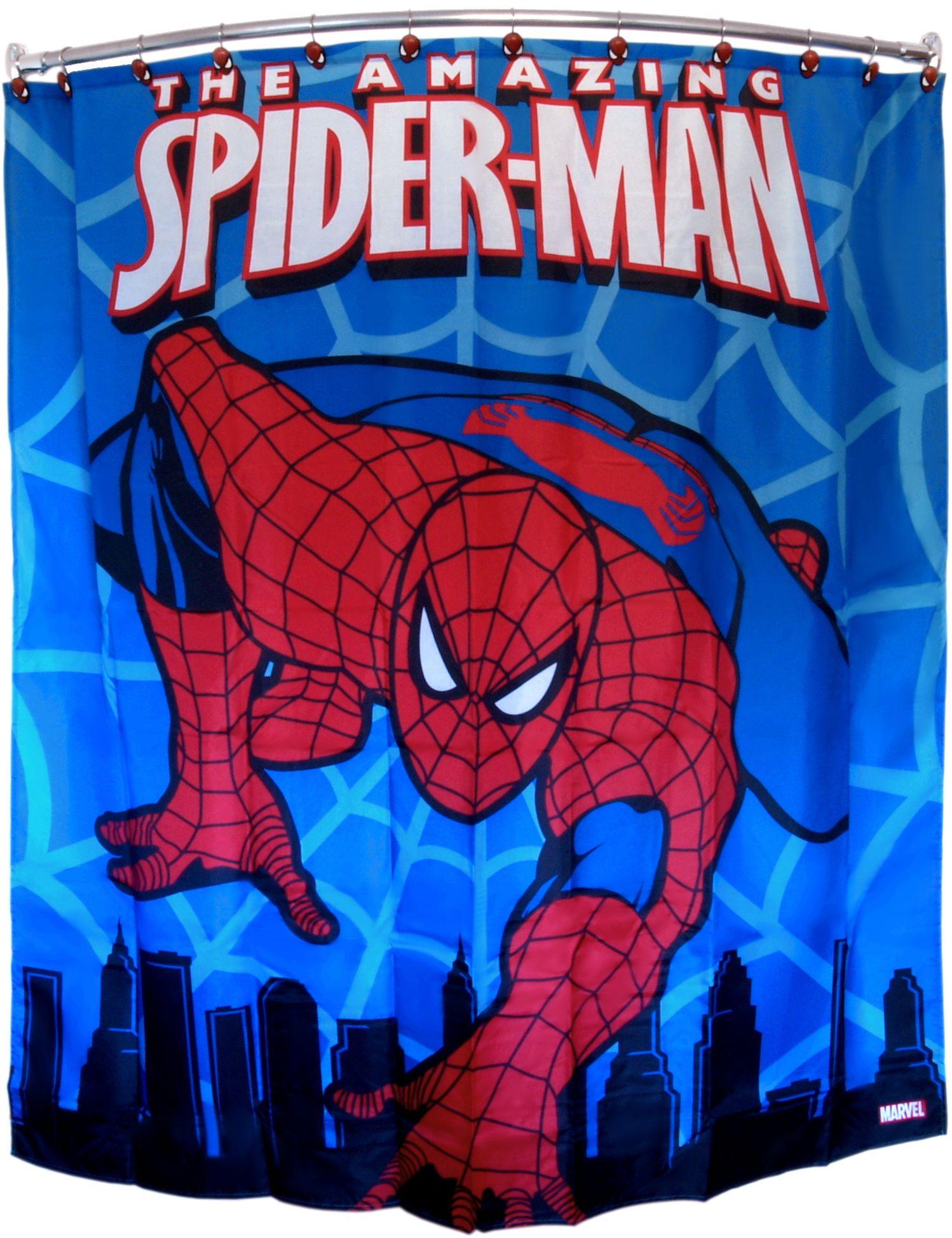 Marvel Spiderman Polyester 70 X 72 Inch Shower Curtain Superhero