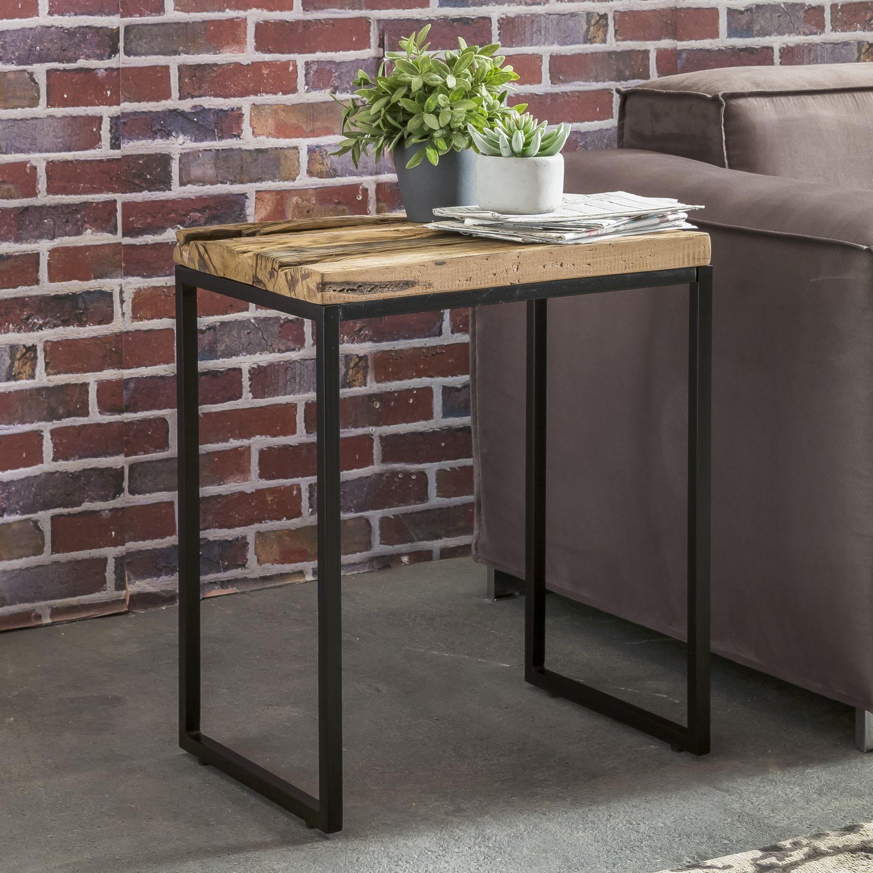 Finebuy Beistelltisch Aus Massivholz Auf Einem Metall Gestell Coffetable Beistelltische Beistelltisch Wohnzimmertisch