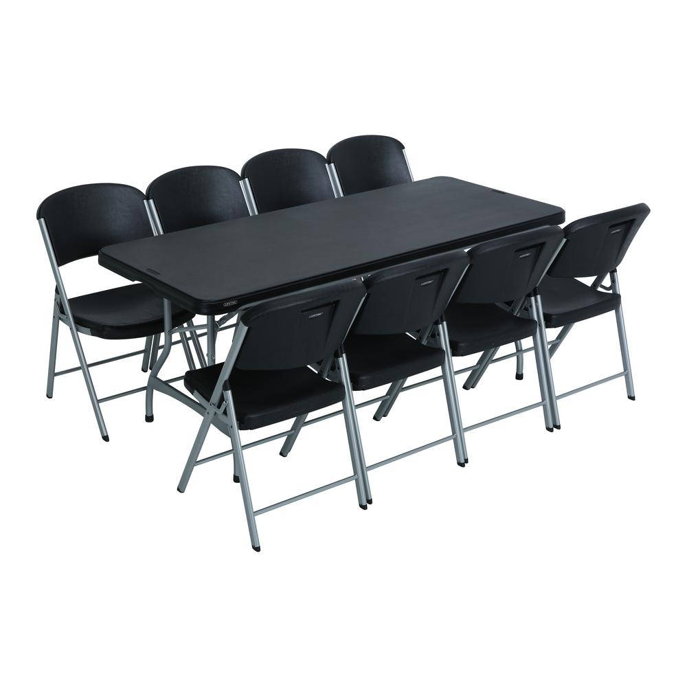 Lifetime 9 Piece Black Stackable Folding Table Set 80439 The Home Depot Bench Table And Chairs Bench Table Lifetime Tables