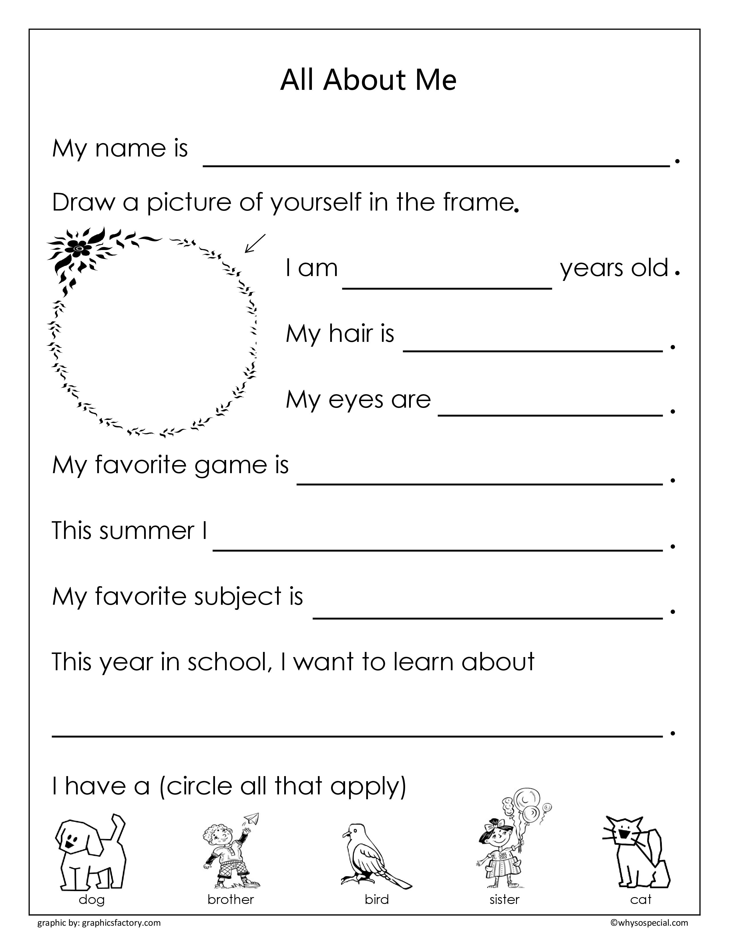 Awesome All About Me Coloring Pages For Preschoolers Gallery Kindergarten Worksheets All About Me Worksheet School Worksheets
