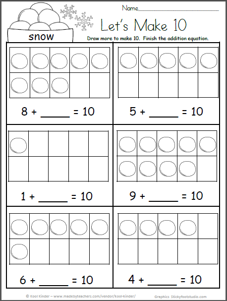 Free Kindergarten Math Worksheets For Winter Snowball 10 Frames Madebyteachers Kindergarten Math Worksheets Free Kindergarten Math Worksheets Math Worksheets