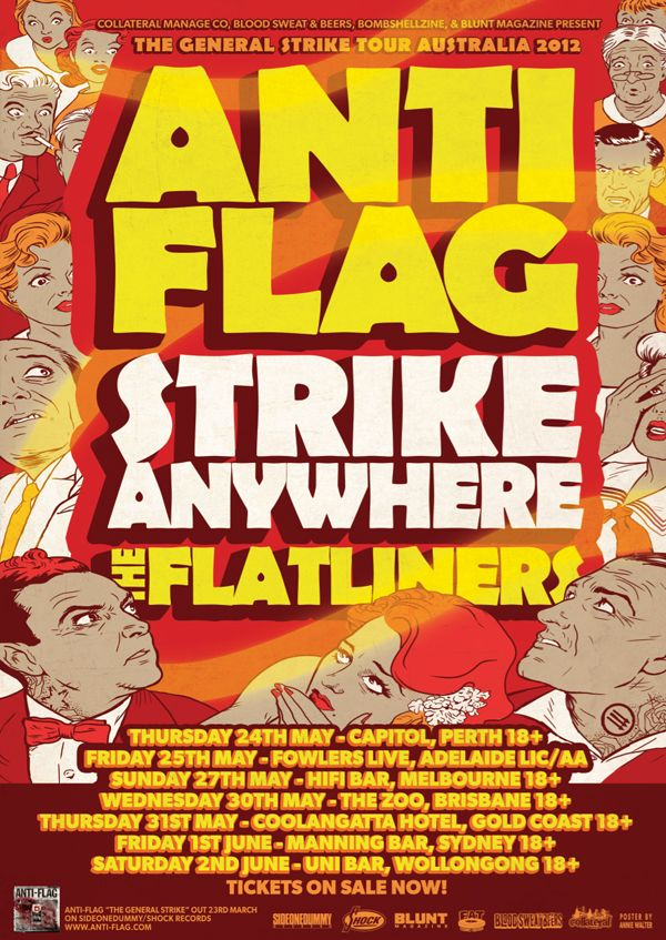 Anti Flag Strike Anywhere The Flatliners Australian Tour Anti Flag Tour Posters Gig Posters