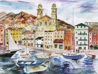 Yves Brayer 1907 1990 Le Port De Bastia 1976 Aquarelle