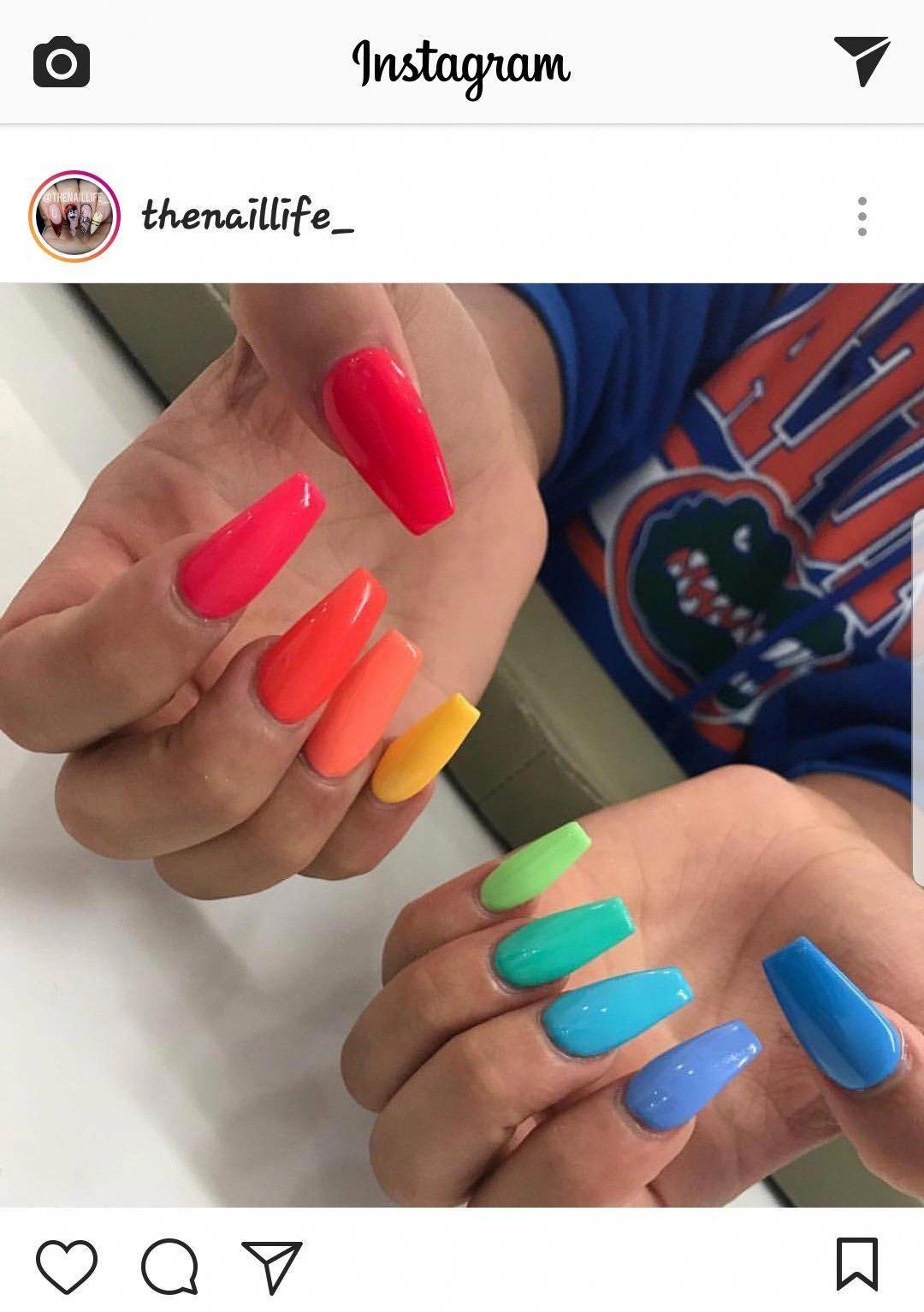 Summer Nails Birthdaynails Acrylicnaildesigns Nails Dream Nails Acrylic Nails Stiletto Rainbow Nails