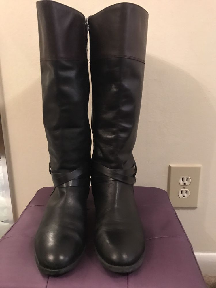 c11308da1 Audrey Brooke Multi Leather Black And Brown Riding Boot Style Size 10   AudreyBrooke  MidCalfBoots  Casual