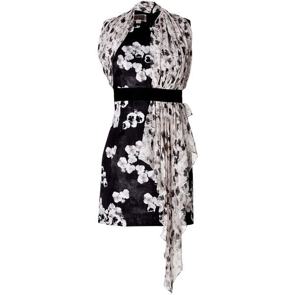 Giambattista Valli Draped Print Cocktail Dress ($1,340) ❤ liked on Polyvore featuring dresses, multicolor, black cocktail dresses, wrap cocktail dress, black dress, floral print dress and special occasion dresses