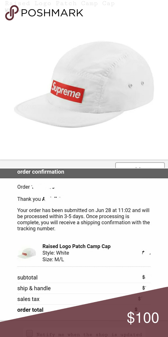 35835611d56 Supreme raised logo patch camp cap hat Brand new. Never worn. Supreme  Accessories Hats