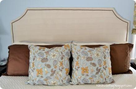 Trendy diy headboard cheap fabric covered nailhead trim ...