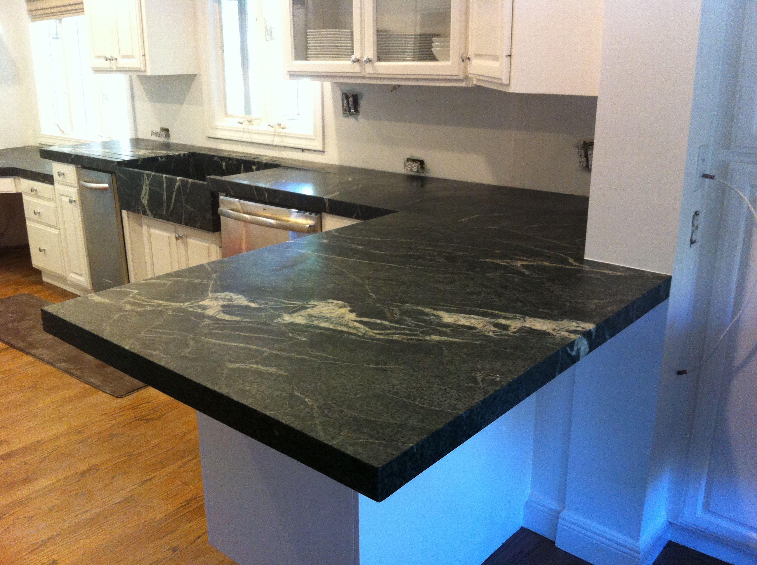 Cinza Verde soapstone kitchen with a mitered edge detail ...