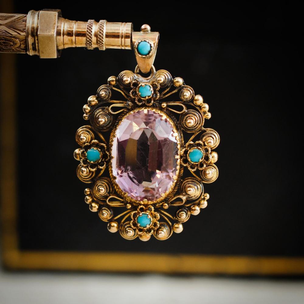 Antique Amethyst & Turquoise Pendant