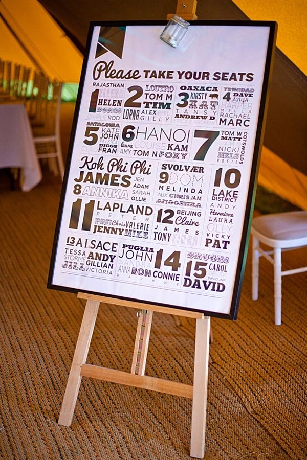 Wedding Seating Plan Ideas Graphic Typographic Black And White