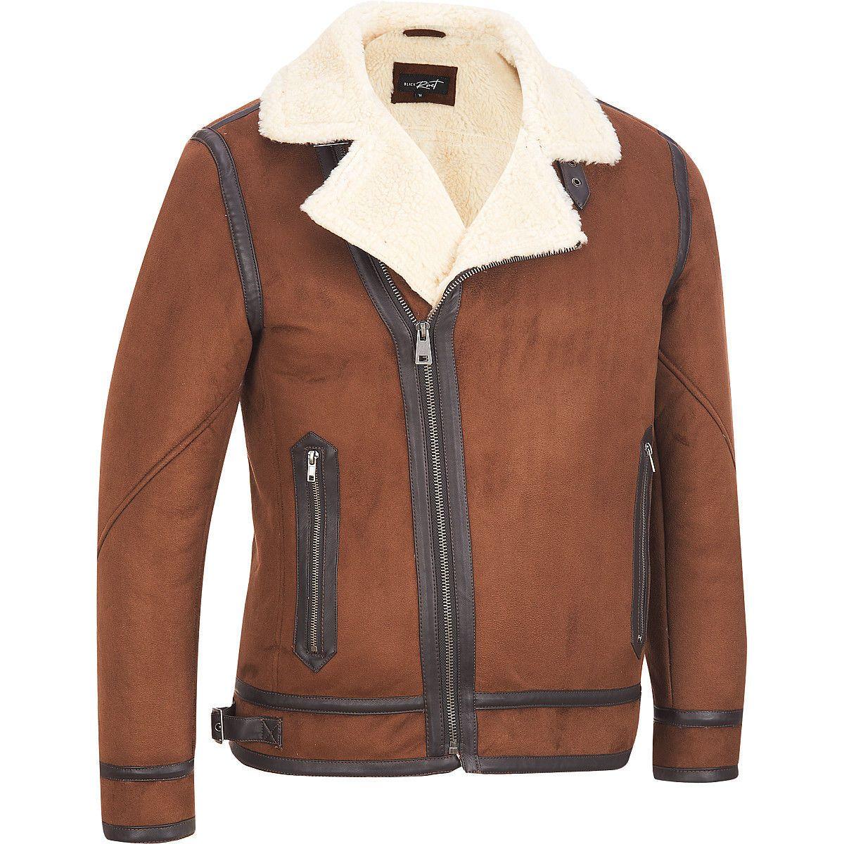 Men's Black Rivet Faux-Suede Jacket w/ Faux-Shearling Collar