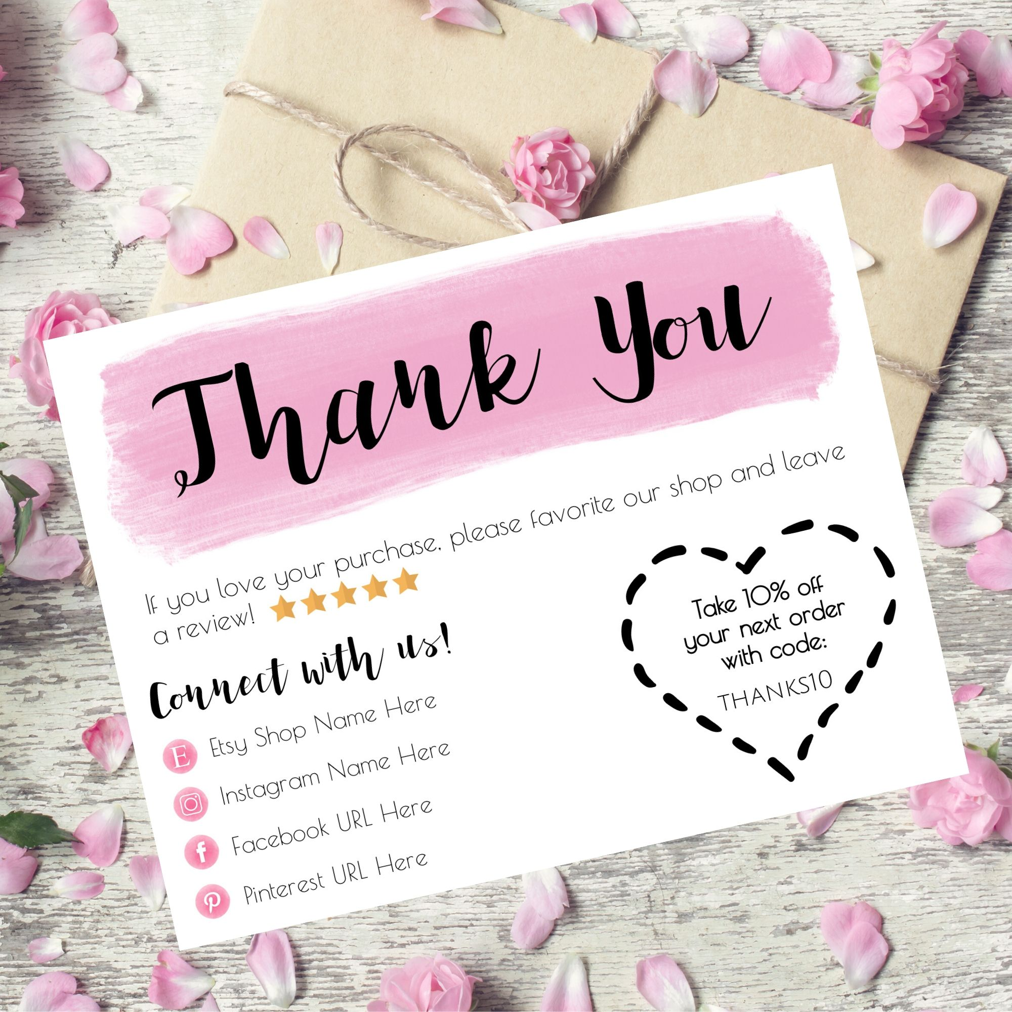 Business Thank You Cards Etsy Thank You Card Thank You For Etsy Business Thank You Cards Thank You Cards Thank You Card Template