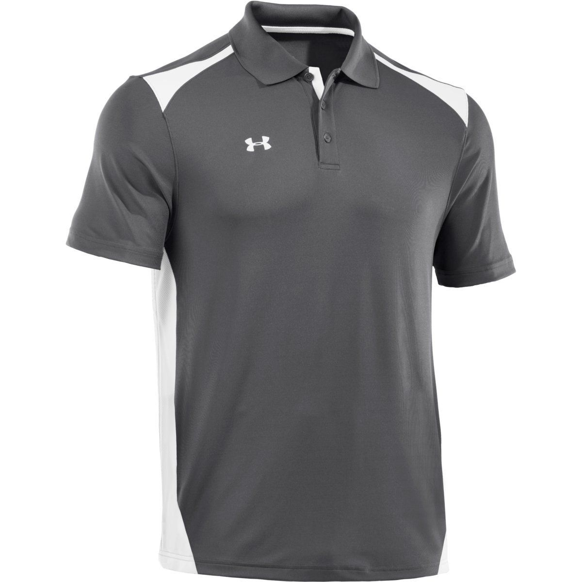 Under Armour Men s Graphite White Colorblock Polo  77c6ef07d