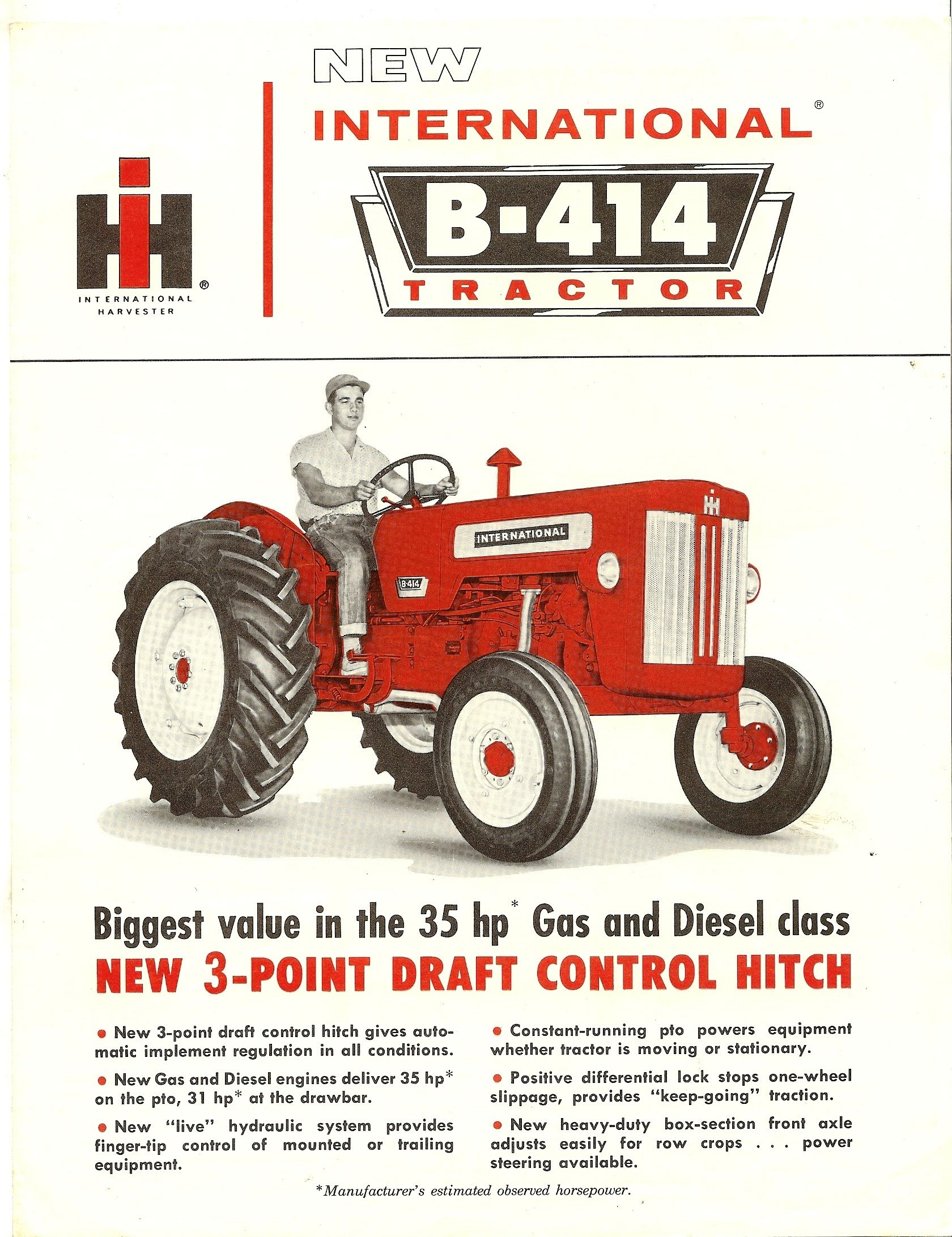 1962 ih b 414 utility tractor international harvester advertising rh pinterest com International B414 Tractor Parts International B414 vs Mahindra