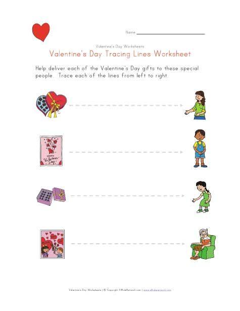 valentine 39 s day tracing lines worksheet holidays. Black Bedroom Furniture Sets. Home Design Ideas