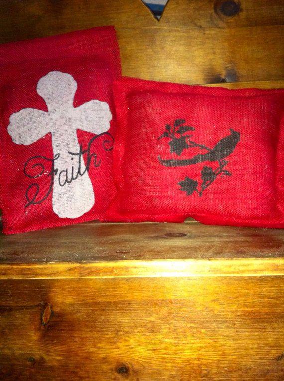 Matching Burlap Flag and Decorative Pillow by JennsDoorDecorMore, $30.00
