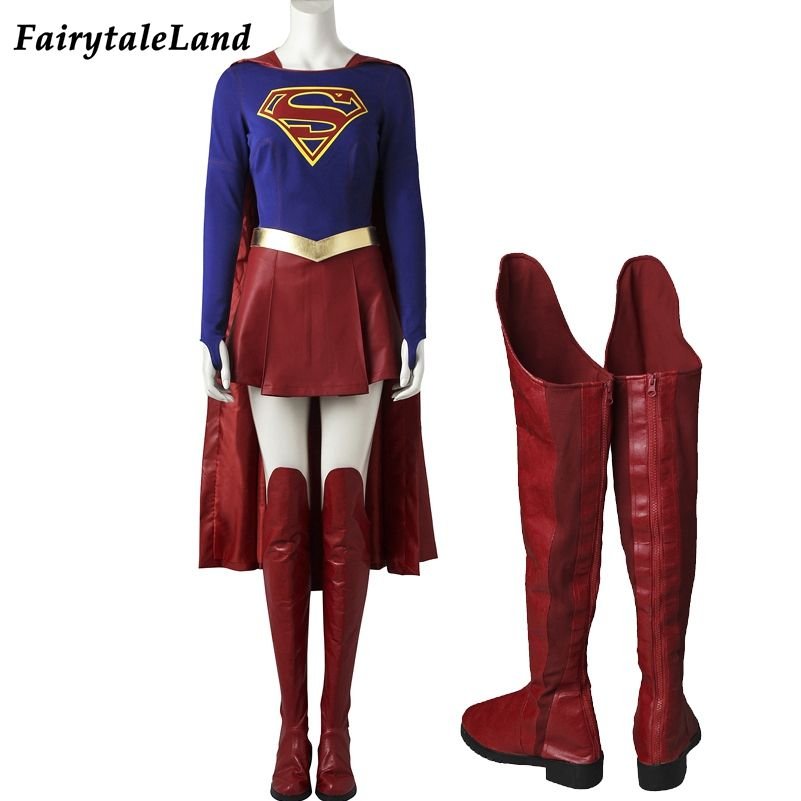 Supergirl Kara Danvers Kara Zor-El Red Boots Cosplay Shoes Handmade
