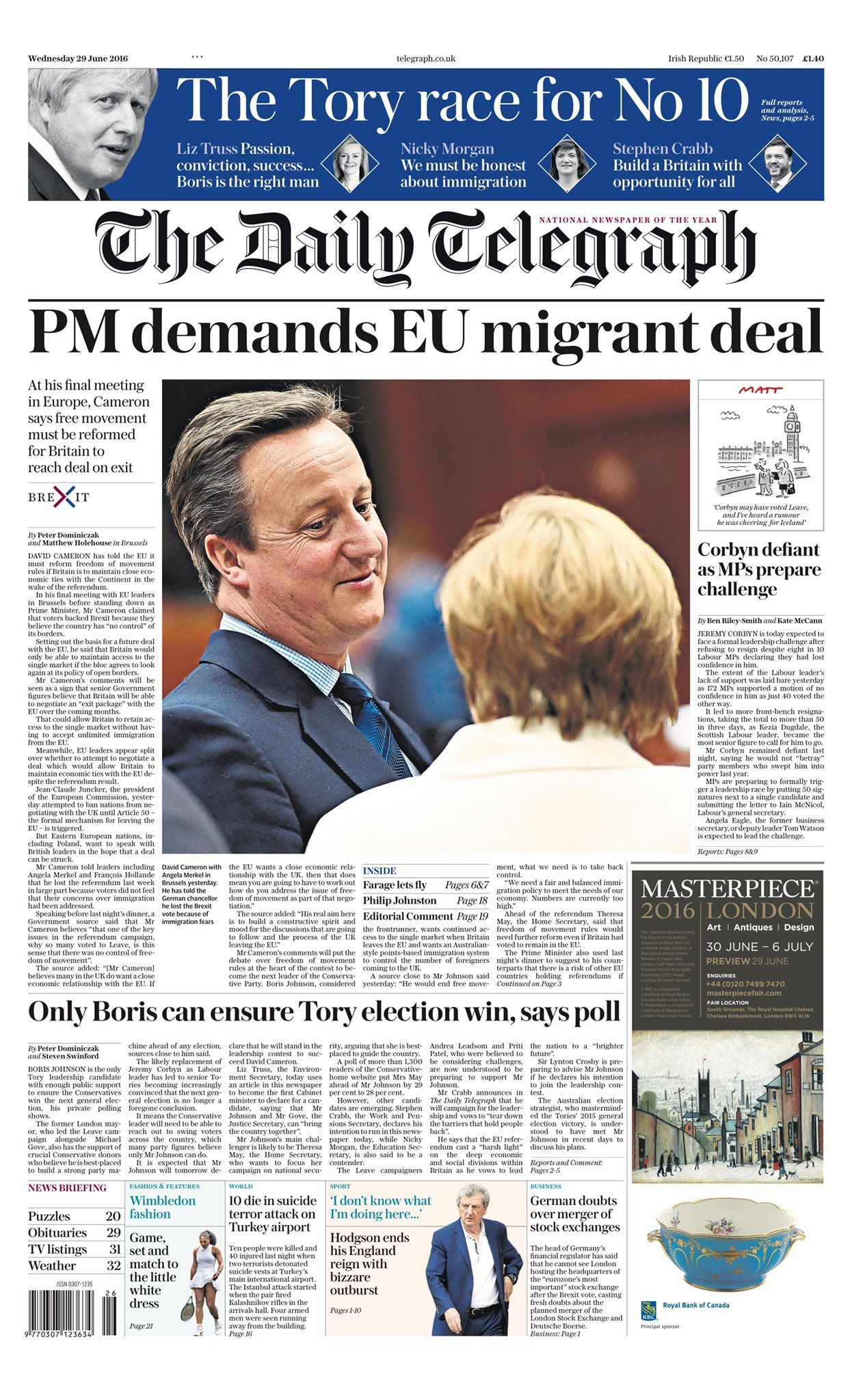 Wednesday's Daily Telegraph front page: PM demands EU migrant deal #Tomorrowspaperstoday #bbcpapers https://t.co/jJUyeMa59v