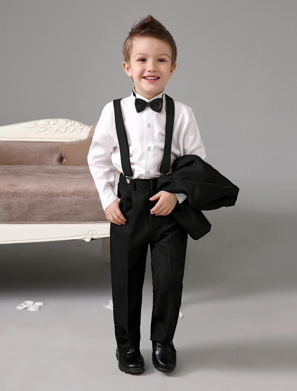 Four Pieces Wedding Black Ring Bearer Suits Cool Boys Tuxedo With Bow Tie Kids Formal Dress