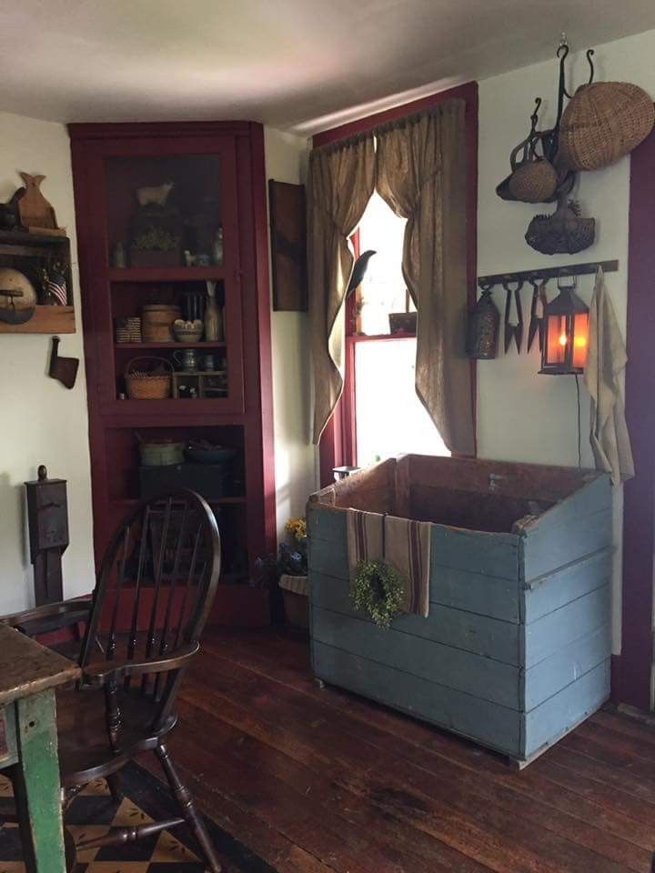 Primitive Dining Rooms Farmhouse Kitchen Cabinets Country Prim Decor