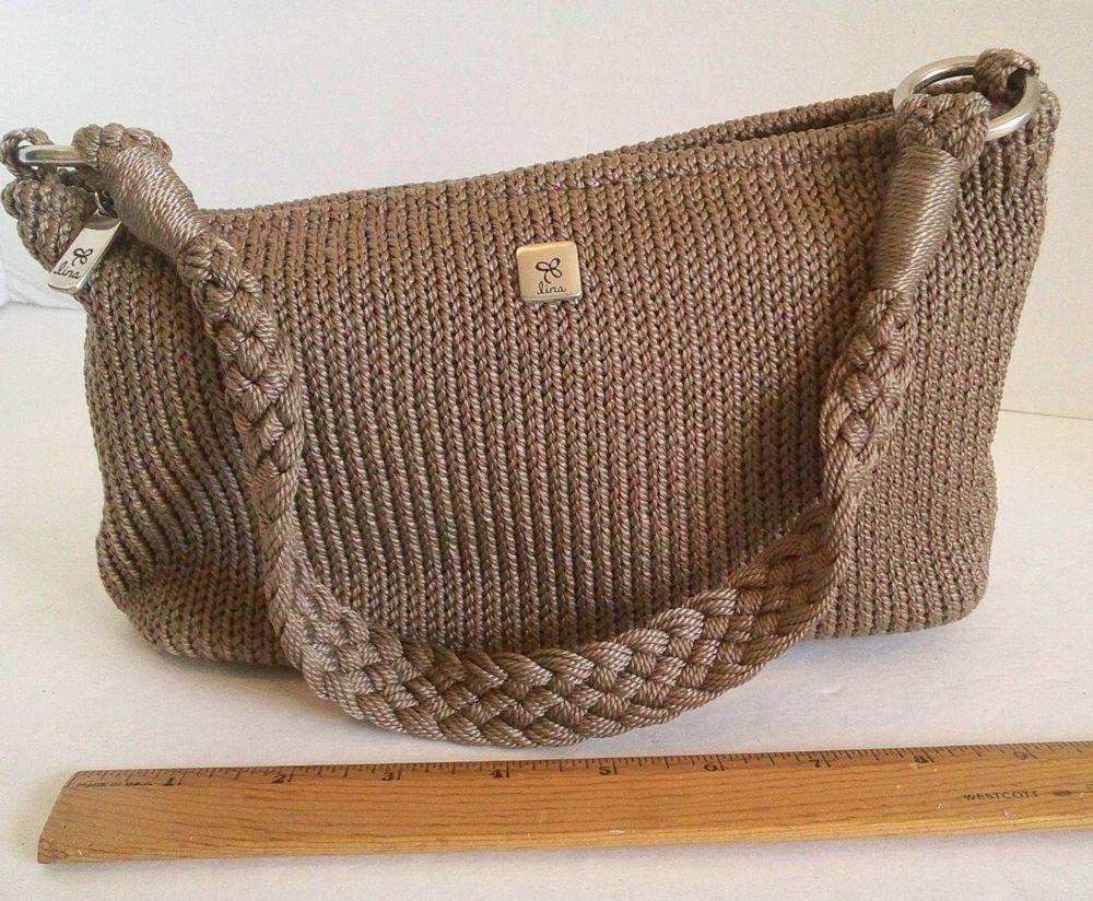 Hand Bag by LINA Brown Knitted Crochet Single Strap Shoulder bag  Free USA Ship #Lina #HandBag