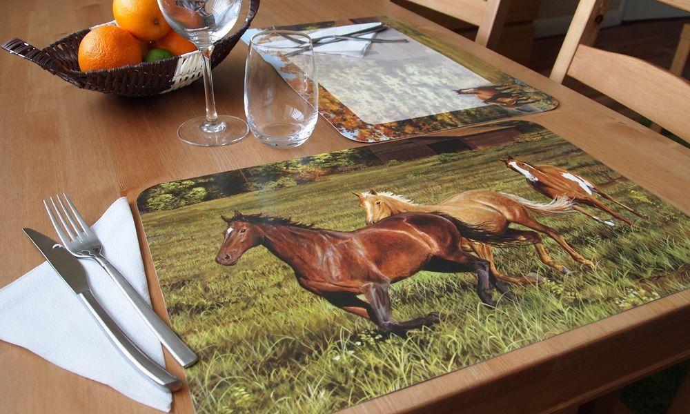 CounterArt Reversible Extra Large Table Placemats U201cHorsesu201d  Set Of 4